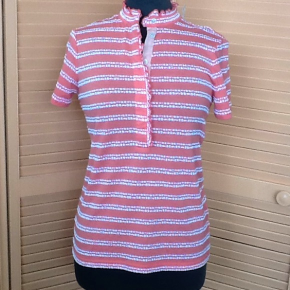 Tory Burch Tops - Tory Burch pink and white striped top